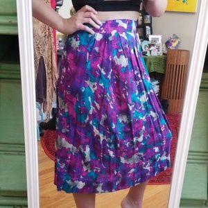 VTG 80s Retro Bright Highwaist Midi Skirt
